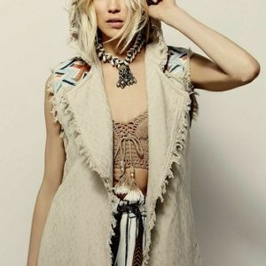 Free People Embroidered Coverup Hoodie Beige Top M